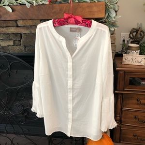 Chico's Pleat sleeve blouse Size 3  Antique White